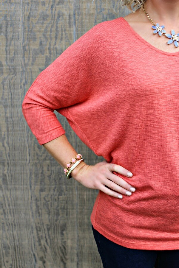 November Stitch Fix Review from Primally Inspired  Laila Jayde Bowie Solid Doman Sleeve Top in Coral