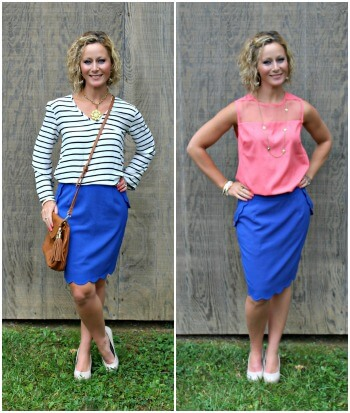 October Stitch Fix Review from Primally Inspired  Brixon Ivy Heidi Scallop Hem Pencil Skirt