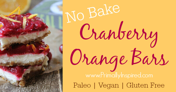 Cranberry Orange Bars No Bake (Paleo, Vegan, Gluten Free) via Primally Inspired