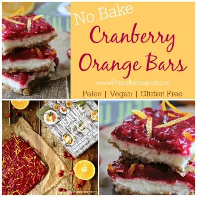 No Bake Cranberry Orange Bars (Paleo, Vegan, Gluten Free) via Primally Inspired