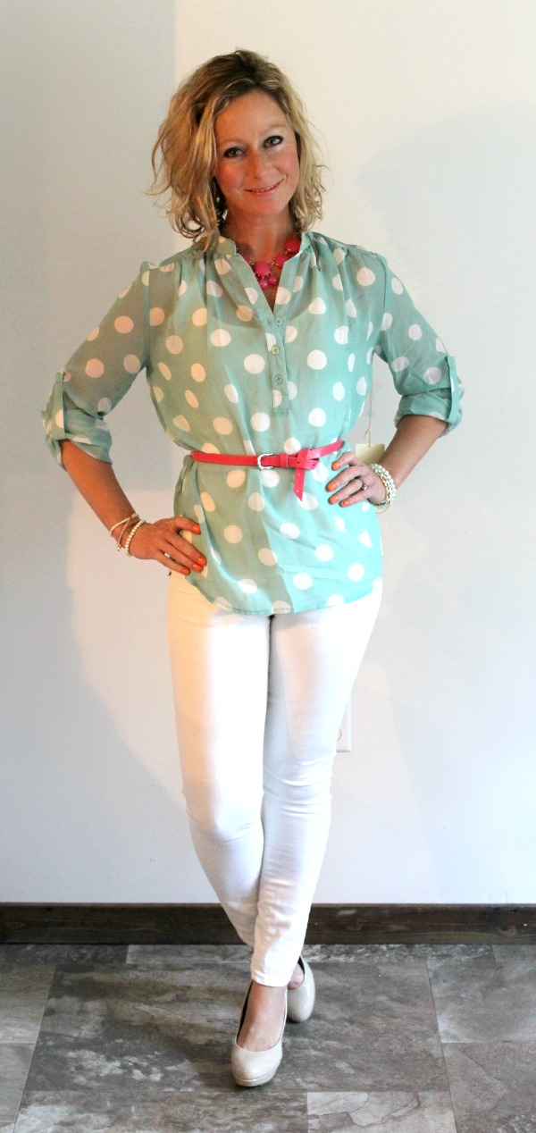 Stitch Fix Review  Missy Polka Dot Tab-Sleeve Blouse