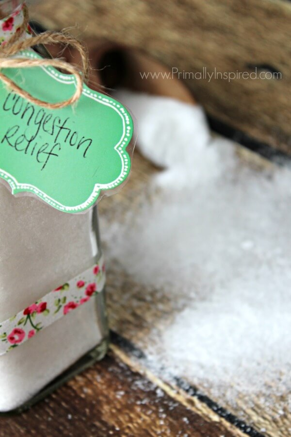 Congestion Relief Bath Salts Recipe from Primally Inspired (relieves congestion and sinus pressure!)