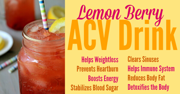Berry Lemon Apple Cider Vinegar Drink Recipe! via Primally Inspired