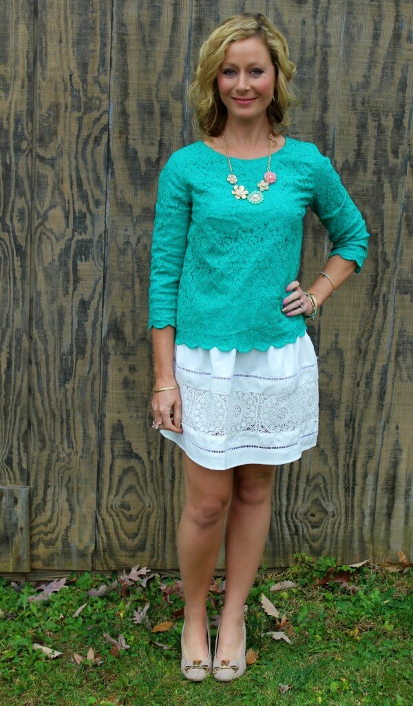 November Stitch Fix Review 2015 - Collective Concepts - Weaver Lace Overlay Top - Dressing Your Truth Type 1