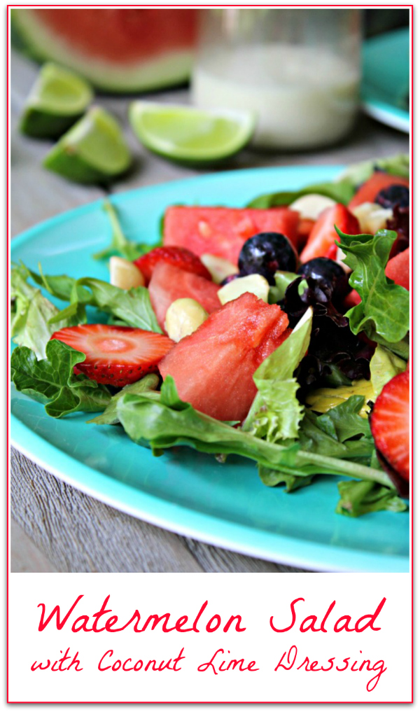 This is a party favorite! It's really healthy, too! Watermelon Salad with Coconut Lime Dressing (Paleo, Vegan)