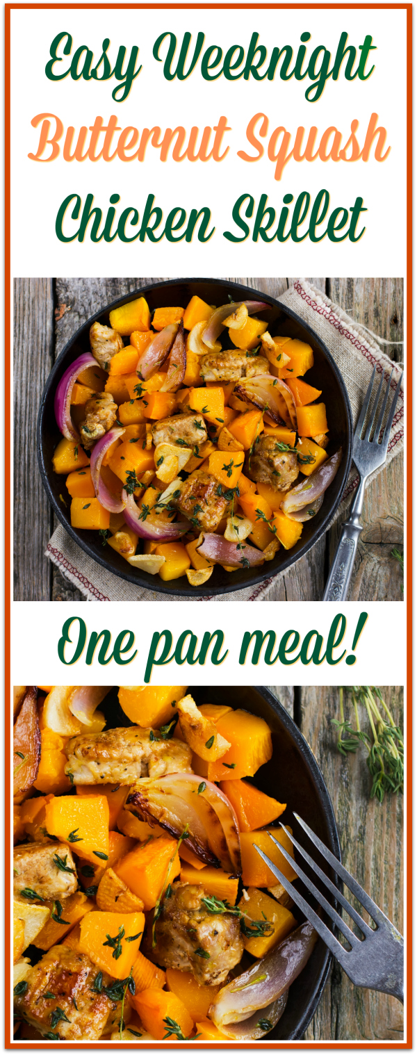 Butternut Squash Chicken Skillet - one pan meal! Whole30, Paleo, Gluten Free
